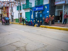 Each day in Celendin the locals lined up waiting for the bank to open.