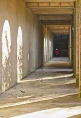 lady in red (plw1053) Tags: plw1053 paullgwells hillgarden shadows architecture sunlight building pergola hampstead corridor contrast
