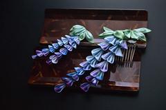 Tiny Blue Purple Wisteria Kanzashi for BJD dolls. Fujimusume. Hand dyed Silk hair clip Kanzashi. Mini Flower doll accessory. (Bright Wish Kanzashi) Tags: kanzashi tsumamizaiku hanakanzashi handmade silk textile art japanesetechnique
