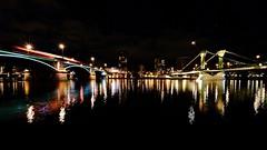 two bridges (Staufen39) Tags: night nacht riverbank flösserbrücke bubis brücke germany frankfurt main longexposure