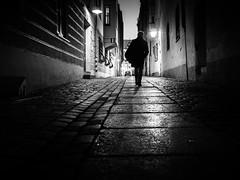 go home (Sandy...J) Tags: olympus atmosphere atmosphäre alone blackwhite bw city darkness dark dunkelheit fotografie photography shadow light silhouette licht monochrom mono man noir night urban street streetphotography sw schwarzweis