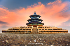 Temple Of Heaven (fesign) Tags: ancient architecture beijing capitalcities chineseculture circle cultures empire famousplace history horizontal internationallandmark marble ming nationallandmark nopeople northchina oldfashioned ornate pagoda palace photography qingdynasty rolemodel roof sky staircase sunset symmetry templebuilding templeofheaven traveldestinations xuanwu
