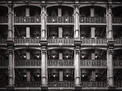 The Stacks Peabody Library (zuni48) Tags: architecture library interior baltimoremaryland peabodylibrary blackandwhite monochrome symmetry 19thcenturyarchitecture