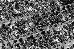 Scooter City (Ron Scubadiver's Wild Life) Tags: motorcycles motorscooter sorrento italy diagonal patterns 70300