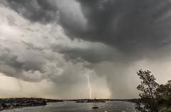 Boom (Crouchy69) Tags: storm cloud lightning strike bolt rain shower cockatoo island sydney harbour harbor australia