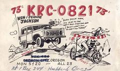 The Viking: Bronco & Poney - Hubbard, Oregon (73sand88s by Cardboard America) Tags: qslcard qsl cbradio cb vintage theviking oregon cars