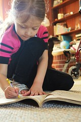 coloring (nonsensephoto) Tags: portrait girl book child daughter blonde littlegirl
