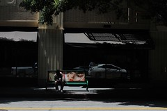 Bubblehead Bus Stop (erin-x) Tags: streetart 50mm losangeles downtown streetphotography streetlife busstop streetphoto robyn dtla spacesuit bubblehead mysterygirl mikemcneilly canont3i erinxavier socalmoments
