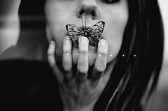 (emmakatka) Tags: blackandwhite girl mouth butterfly hands hand fingers nails emmakatka