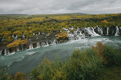 Hraunfossar. Hsafell, Iceland. (jonferry) Tags: nature landscape lava waterfall iceland fields vsco