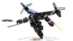 Wyldstyle's Flight Mech (clmntin.E) Tags: digital movie lego designer military flight mini scifi mecha mech povray mocs minifigure the wyldstyle afol miniland hardsuits exosuits