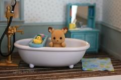 splish! splash! (*Joyful Girl  Gypsy Heart *) Tags: baby scale bathroom bath nursery families rubber 124 ducky calico half critters etsy diorama sylvanian roombox joyfulgirlgypsyheart