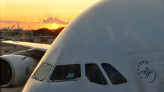Air France 2 (FredM.) Tags: nyc sunset ny newyork reflection plane soleil airport nikon coucher reflet boeing avion airfrance aroport d90