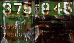 Numeric Difluence (Junkstock) Tags: old railroad color green texture abandoned train typography photography photo junk rust paint graphic decay trains number textures numbers photograph rusted type weathered aged distressed corrosion decayed patina corroded relic rustyandcrusty oldstuff oldandbeautiful