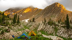 Silvertip sunset (Blue Trail Photography) Tags: sunset camp mountain nature rock forest evening montana bob tent marshall backpack wilderness silvertip mountainsociety