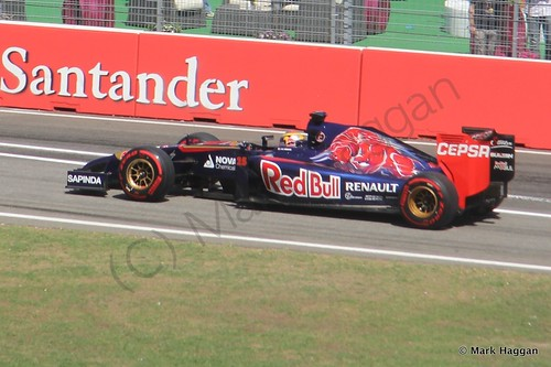 Jean-Eric Vergne in his Toro Rosso during Free Practice 2 at the 2014 German Grand Prix
