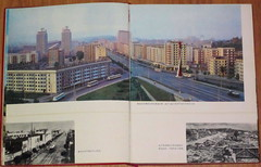 "North Korea vintage DPRK propaganda photo showing P'yongyang in the 70s - ""That 70s Socialist Style"" (moreska) Tags: urban streets architecture vintage buildings 1974 photo asia cityscape flat propaganda empty towers north structures books korea panoramic 70s socialist bleak streetview drab publications rebuilding pyongyang dprk sovietera"
