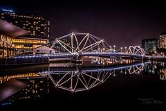 Seafarers Bridge, Melbourne (Zubairaslam) Tags: city bridge reflection colors night photography long cityscape australia melbourne symmetry hdr exposures seafarers seafarersbridge