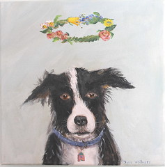 always love (Julie Whitmore Pottery) Tags: painting bordercollie dogportrait wreathofflowers juliewhitmore