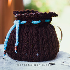 Adjustable Tea Cozy (Crochet Genie) Tags: blue brown coffee cozy knitting warm tea handmade knit cable teapot knitted cosy teacozy coffeepot teacosy crochetgenie crochetgeniecom