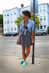 bus stop (christine ulin) Tags: road street blue cambridge summer portrait white black building sign shirt standing shoes waiting pattern dress body massachusetts afro tie down pole full turquiose sidewalk button leaning lean patterned 2014