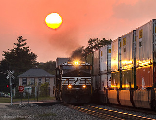 NS Intermodal Trains at Sunset