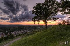 Sunset over Stuttgart (HDR) (dennis.brendel) Tags: sunset rot colors germany landscape colours sonnenuntergang cloudy stuttgart bluehour hdr hdri farben hdratnight