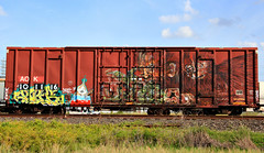 (o texano) Tags: bench graffiti texas 5 five houston trains koi msg rp freights benching