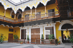 Interior Patio at Torre Tagle Palace in Lima, Peru ([visual media]) Tags: wood old people peru southamerica america outdoors wooden downtown day lima balcony south palace historic patio marques torretagle