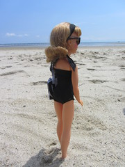 (18) A Great Day for the Beach (Foxy Belle) Tags: summer sky sun black beach swim vintage outside glasses bay doll handmade ooak tammy sew atlantic suit flip blonde cape 1960s ideal bathing cod sewn