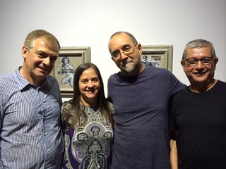 Gallery owners Juan Ruiz and Gaby Soto with artist Ruben Torres Lorca and curator Jose Antonio Navarrete at their Short Story group show