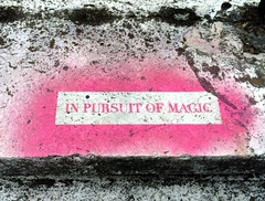 In pursuit of magic (StartTheDay) Tags: madrid park street city travel pink light summer urban holiday color colour art rose stone wall catchycolors concrete graffiti spain stencil colorful europe paint grafitti bright decay painted magic colourful amateur rosso cerise 2014 stencilled