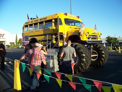 Monster  Kool  Bus (Bob the Real Deal) Tags: 4x4 fresno rides schoolbus monstertruck kodakz712is koolbusrides monsterschoolbus badetothebone 1956chevrolet4500 chevy4500 monsterkoolbuscom