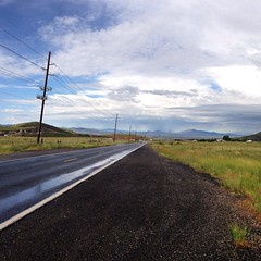 """""""89-A Looking West; 8:45 a. m.; September 4, 2014"""" (Paul Ewing) Tags: road arizona rain clouds square monsoon squareformat   89a  prescottvalley lonesomevalley  iphoneography instagramapp uploaded:by=instagram"""