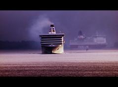 (blazedelacroix) Tags: ferry sunrise sweden smoke calm balticsea line viking archipelago vaxholm