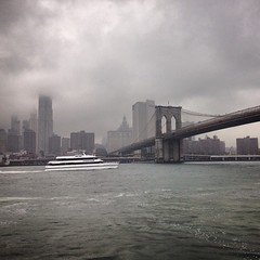 East River Ferry (the known universe) Tags: mist rain misty fog ferry skyline brooklyn river square boat manhattan foggy dumbo squareformat brooklynbridge eastriver iphoneography instagramapp eastriverferry