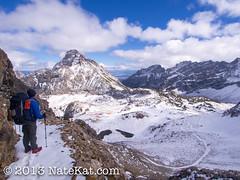 Paintbrush Canyon (NateKat Photography) Tags: snow landscape trail backpacking valley blueskies wyoming grandtetonnationalpark snowcappedmountains paintbrushcanyon tetoncresttrail olympusepl5