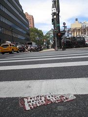 Partially Covered Toynbee Tile on West 35th Street 2014 NYC 7015 (Brechtbug) Tags: street new york 2001 city nyc red west by cutout tile dead found idea cross walk manhattan like severino midtown made tiles covered planet wax jupiter kubricks crosswalk avenue 9th toynbee named verna crumbling 35th sevy possibly 2014 reclusive resurrect partially philadelphian 09032014