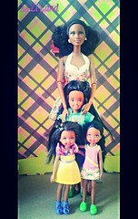 Theia and her Girls (lovebarbies) Tags: stacie chelsea basic barbiedoll soinstyle