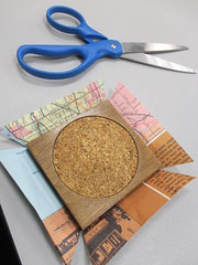 Upcycled Map Coasters at Edgebrook's Mini Maker Lab (cpl_makerspace) Tags: chicago cpl chicagopubliclibrary hwlc haroldwashingtonlibrarycenter makerspace cplmakerlab
