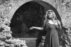 20150615_F0001: Theatrical pose at an ancient stage (wfxue) Tags: flowers portrait people blackandwhite bw girl stone wall ancient ruins arch bricks polkadots chamber