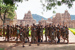 Military school students not so ordered (Scalino) Tags: india karnataka travel trip pattadakal heritage site chalukyas chalukya school kids students military excited jumping smiling group temple hindu
