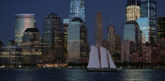 Night Light Sailing (chantsign) Tags: boat sailboat sailing twlight night newyorkcity manhattan windows water hudsonriver reflection