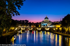 Blue Hour in Rome (mbfirefly) Tags: sunset italy rome dusk blue bluehour bridges