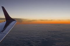 Sunset from OS 0305 VIE-CPH (Svein K. Bertheussen) Tags: austrian austrianairlines sunset aircraftwing winglet flyvinge solnedgang aircraftcabin flykabin aviation flyving skyer clouds