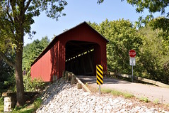 James Covered Bridge (4) (Jake (Studio 9265)) Tags: southern indiana covered bridge usa united states america september 2016 nikon d5000 james jennings county red rocks wood caution sign road paved outdoor