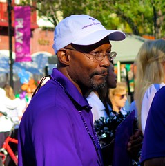 Keith (LarryJay99 ) Tags: public man beads goatee dude alzheimers alzheimerswalk2016 male dudes profile guys caps citypulse events guy blackman handsome alz westpalmbeach cityplace unsuspecting men alzheimersassociation smile purple candid glasses face mustache people 61305mm