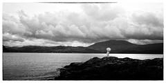 Inspiration.. (Harleynik Rides Again.) Tags: inspiration kylerhea glenelg isleofskye weddingdress parasol cloudporn monochrome filmnoir bw loch sea scotland