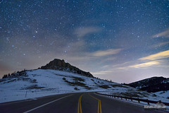 December Night Drive (kevin-palmer) Tags: bighornmountains bighornnationalforest winter december night sky stars starry astronomy astrophotography dark nikond750 tokina1628mmf28 clouds clear blue snow snowy cold frigid steamboatpoint peak mountain highway14 road nightscape big dipper ursamajor astrometrydotnet:id=nova1850083 astrometrydotnet:status=failed