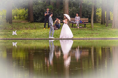 entourage (stevefge) Tags: china gongchiang park shanghai brides groom reflections reflectyourworld